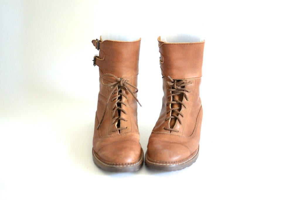 womens leather paratrooper boots 8 5 distressed by
