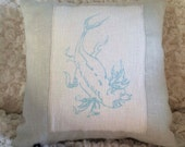 Linen Pillow Light Baby Blue with Hand Screen Printed Sea Monster Applique
