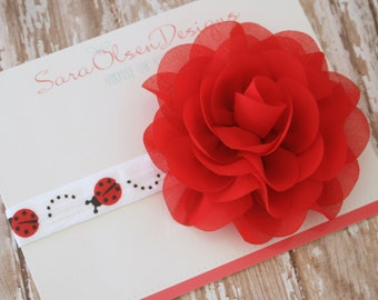 Ladybug Headband, White Black Red, Summer Headband, Baby Headband, Boutique Headband, Elastic Headband, Flower Headband, Infant Headband