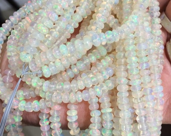 Sold by set of 20 beads natural ethiopian opal 4 mm size