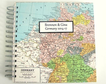 Travel Journal for Graduation Gift, Year Abroad, Mission Trip or Honeymoon Travel Journal with vintage map of Germany and customization.