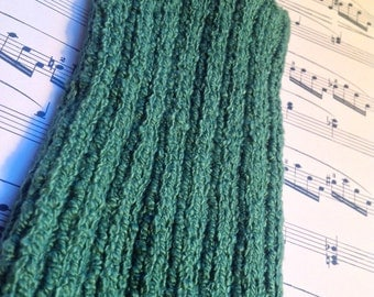 L PICC Line / IV Cover (Armband) Green, pine, machine wash, intravenous, chemo, lyme, tpn, hand knit, cotton, elastic, soft, earthy, natural