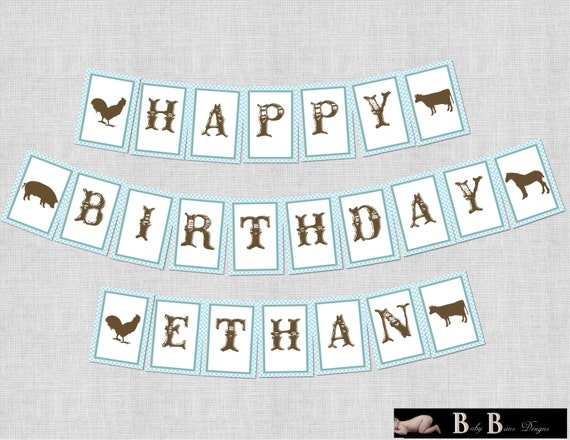 Boy Farm Birthday Party Banner (blue gingham)- Printable or Shipped