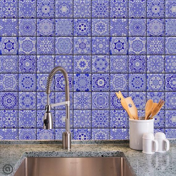 Removable Wallpaper Cobalt Tiles Peel Amp Stick Self Adhesive