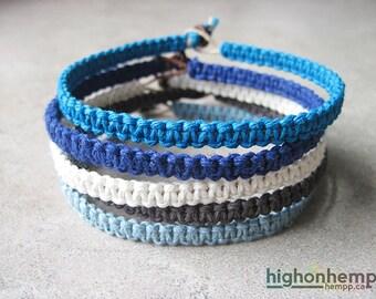 Blue Bracelet, Bracelet Set, Hemp Bracelet, Simple Bracelet, Macrame Bracelet (5)