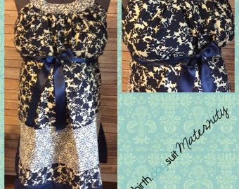 Maternity Hospital Gown- SALE- blue geometric floral, bigger solid floral