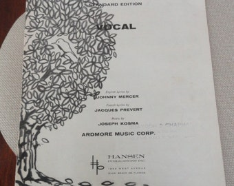 A250)  Original Johnny Mercer Autumn Leaves Sheet Music