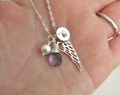 Angel wing necklace, STERLING SILVER, personalized initial charm jewelry, blue gemstone, mothers necklace, silver angel wing, remembrance