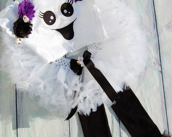 Ghost tutu with- Baby Ghost tutu- Ghost Costume- Girls Ghost tutu- Girls Ghost dress- Halloween Ghost Costume- Halloween Ghost tutu