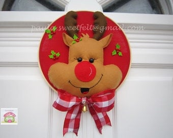 Rudolph, the red nosed reindeer wreath