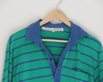 Vintage Mens Polo Maus & Hoffman Green Striped 100% Cotton Made in Italy 1980s Size 42 Extra Large