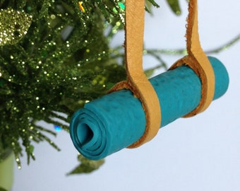 Yoga Ornament Yoga Mat Christmas Ornament Leather and Polymer Clay Stocking Stuffer