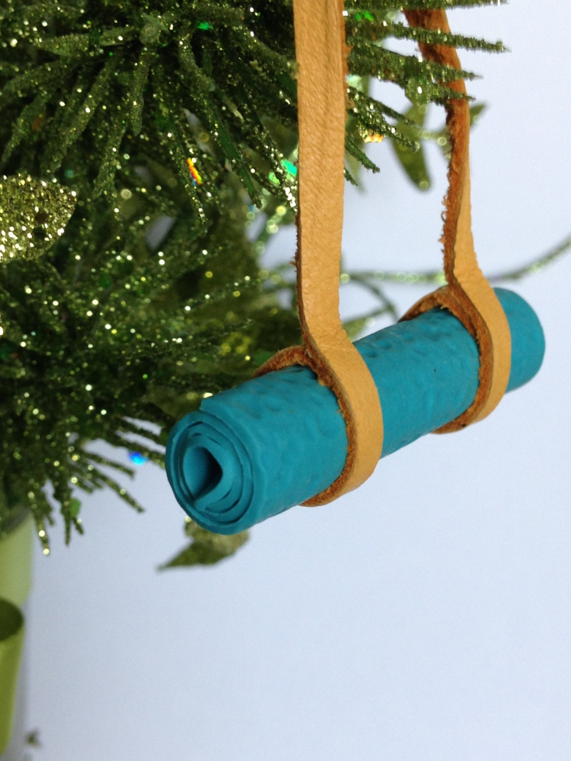 Yoga Ornament Yoga Mat Christmas Ornament Leather and Polymer