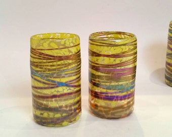 Iridescent Bright Yellow Hand Blown Glass Tumbler Set of Two