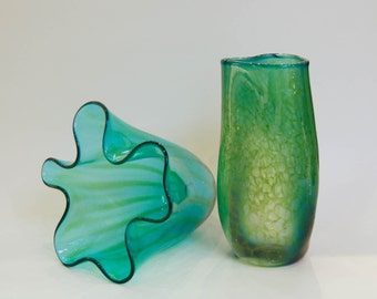 Blue Green Aquatic Blown Glass Art Vessel Set