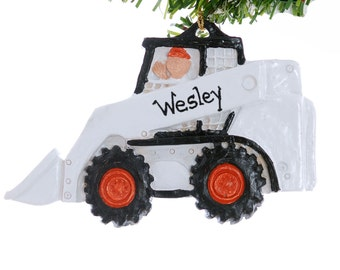 Pesonalized Christmas ornament skid steer construction equipment boys personalized Christmas ornament