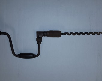 """Large Antique Bit Brace Drill with Augur 28"""" overall length wood handle"""
