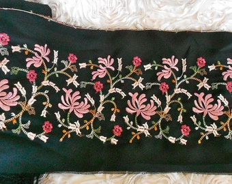 Pink Floral Embroidered Fabric