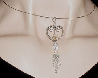 Pendant Necklace Silver Heart Clear AB Crystals and Chain Tassel Memory Wire Choker Necklace SALE