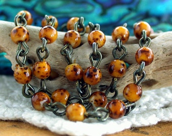 Quality Czech Glass Beaded Chain, Rosary Chain, Bead Chain, Jewelry Chain, Amber Picasso Brass Ox Chain CHN-129