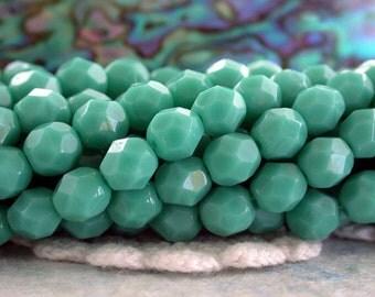6mm Firepolished , Czech Glass Fire Polished Beads, Green Turquoise, Czech Glass Beads, Fire Polished Beads  CZ-396