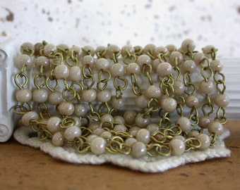 Beaded Chain, Chain, Bead Chain, Rosary Chain, Jewelry Chain, Ivory Luster Raw Brass CHN-113