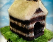 Amazing Custom Dog / Cat House / Chinchilla Faux Fur / English Cottage Log Cabin Thatched Roof / Includes Faux Fur Lawn and Foam Pet Bed