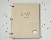 Large size 8.5X11 custom wedding guest book with engraved intials and date
