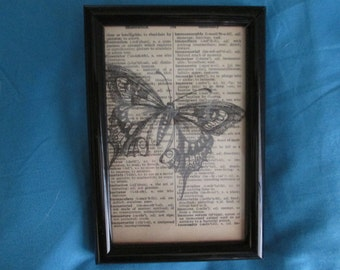 Large Butterfly Print on Vintage Dictionary Paper