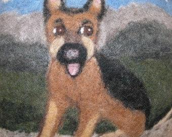 German Shepherd Dog Pillow - Needle Felted
