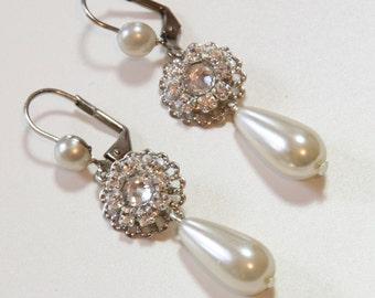 Bridal Pearl Earrings Rhinestone Earrings Vintage Earrings Wedding Earrings Pearl Bridal Jewelry Victorian jewellery Bridesmaids Drop Pearl