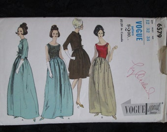 1950's/60's VOGUE SPECIAL Design Pattern Ladies One-Piece Evening Dress, Over-blouse, Jacket