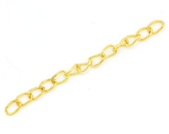 100 Gold Extension Chains - WHOLESALE - Tail Extenders - 50x3mm - Ships IMMEDIATELY from California - CH418a