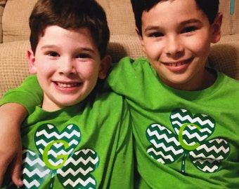 Chevron Shamrock Initial long sleeve tshirt