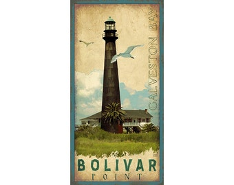 Galveston Texas- Bolivar Point Lighthouse Poster, Vintage Look Travel Posters, various sizes available, Texas History, Home Decor and Design