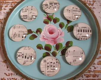 Vintage Sheet Music Shabby White Decor Music Theme Glass Magnet Set Home and Office Organization Magnetic Classical Music