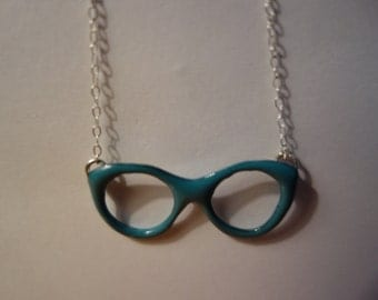 """Teal Blue Enameled Eye Glasses Pendant Necklace with 20"""" sterling silver Dainty chain."""