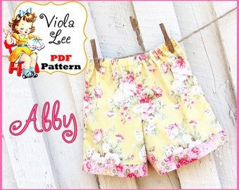 Girl's Shorts Pattern pdf, Girl's Sewing Pattern. Girl's Pants Pattern. Toddler Shorts Pattern, Baby Pants Pattern Instant Download. Abby
