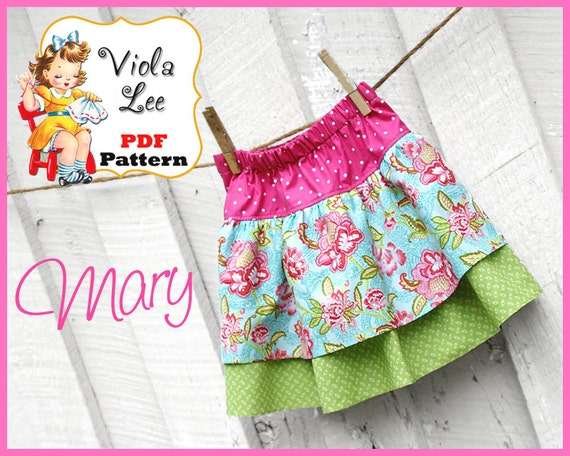 Mary Girl's Skirt Sewing Pattern. Ruffle Skirt Pattern. PDF Sewing Pattern, Girl's Skirt Pattern, Toddler Skirt Pattern. Infant Skirt. pdf