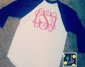 Personalized Large Monogram Baseball Tee Spring Tee Monogram Shirt