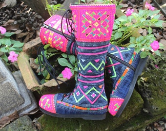 Womens Boots In Deep Hmong Indigo Batik With Colorful Applique And Embroidery Boho Boots - Sadie FREE Shipping Worldwide