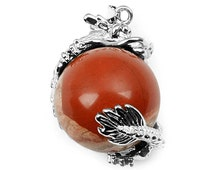 Red Jasper Sphere Stone Pendant with Polished Dragon Silver Accent NT-147