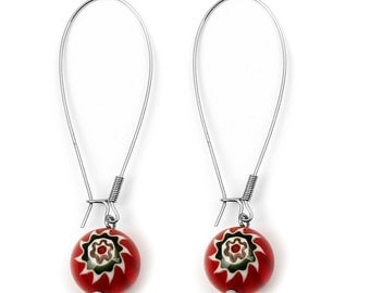 Red Colored Round Handmade Lamp work Glass Earrings with Flower Design ES-001