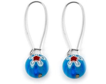 Blue Colored Round Handmade Lamp work Glass Earrings with Flower Design ES-002