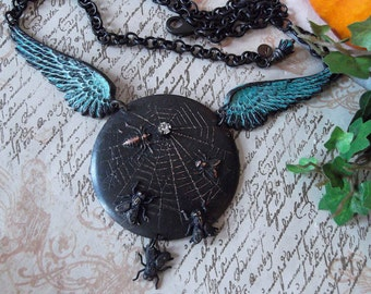 Spider Web with Flies, Spider and Wings Black & Verdigris Patina on Brass