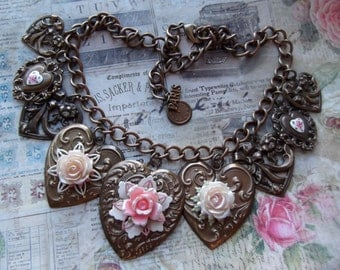 Heart Charm Necklace in Chocolate Oxidized Brass, Resin and Guilloche Roses, Large Statement Necklace