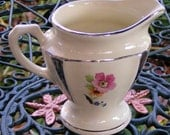 Pedestal DECO Creamer Silver Glossy Lines White with Two Floral Designs 30s 40s