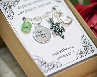 Personalized Nurse Necklace With Birthstone and Initial - RN2 - Personalized Nurse's Gift - RN Caduceus Charm - RN Caduceus Necklace - Nurse