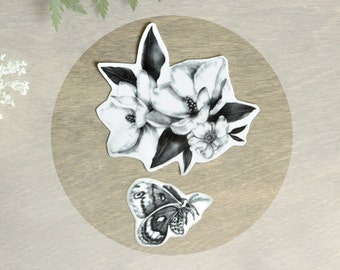 Temporary Tattoos Magnolia and Moth (Includes 2 Tattoos) Floral