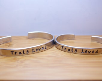 truly loved mother daughter (adult) bracelet set - mother daughter set - mother daughter bracelet - loved bracelet - handstamped bracelet